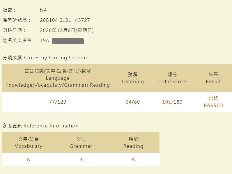 日語檢定學員心得